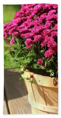 Beach Towel featuring the photograph Basket Of Blooms by Trina Ansel