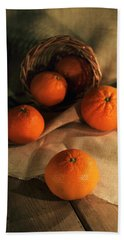 Beach Towel featuring the photograph Basket Of Fresh Tangerines by Jaroslaw Blaminsky