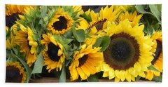 Basket Of Sunflowers Beach Sheet