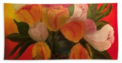 Basket Of Tulips Beach Sheet