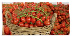 Basket With Red Tomatoes Beach Towel