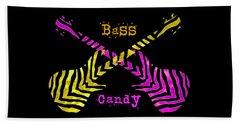 Beach Towel featuring the digital art Bass Candy by Guitar Wacky