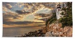 Bass Harbor Head Lighthouse Sunset Beach Sheet