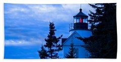 Bass Harbor Lighthouse Blue #2 Beach Sheet