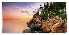 Bass Harbor Lighthouse Sunset Beach Sheet by Ranjay Mitra