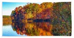 Bass Lake, Nc, Fall Colors Beach Towel