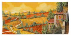 Beach Towel featuring the painting Bassa Toscana by Guido Borelli
