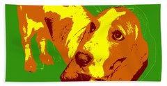 Beach Towel featuring the digital art Basset Hound Pop Art by Jean luc Comperat