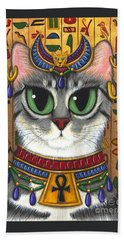Beach Towel featuring the painting Bast Goddess - Egyptian Bastet by Carrie Hawks