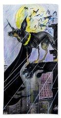Bat-dog Caricature  Beach Sheet