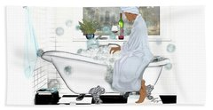 Bath And Wine With Style Beach Towel