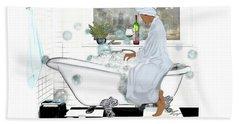 Bath And Wine With Style Beach Towel