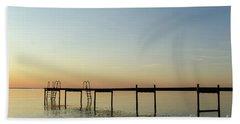 Beach Towel featuring the photograph Bath Pier Silhouette by Kennerth and Birgitta Kullman