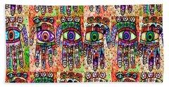 Batik Hamsa Coral Beach Sheet by Sandra Silberzweig
