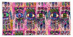 Batik Hamsa Pink Beach Sheet by Sandra Silberzweig