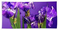 Batik Irises Beach Towel