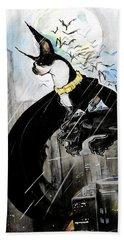 Batman Boston Terrier Caricature Art Print Beach Sheet