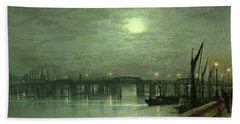 Battersea Bridge By Moonlight Beach Sheet by John Atkinson Grimshaw