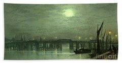 Battersea Bridge By Moonlight Beach Sheet by John Atkinson Grimshaw
