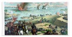 Battle Between The Monitor And Merrimac Beach Towel