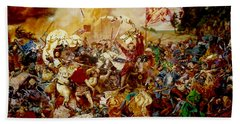 Beach Towel featuring the painting Battle Of Grunwald by Henryk Gorecki