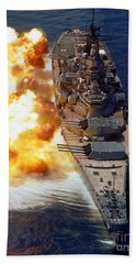 Battleship Uss Iowa Firing Its Mark 7 Beach Towel