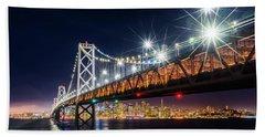 Bay Bridge And San Francisco By Night 5 Beach Towel