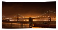 Bay Bridge At Night Beach Towel