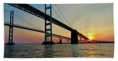 Bay Bridge At Sunset  Beach Towel