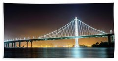 Bay Bridge East By Night 1 Beach Towel