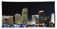 Bay Front Miami Skyline Beach Towel