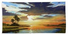 Bay Sunset Beach Towel by Rick McKinney