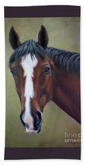 Bay Thoroughbred Horse Portrait Ottb Beach Towel