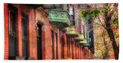 Bay Village Brownstones And Cherry Blossoms - Boston Beach Towel by Joann Vitali