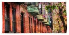 Bay Village Brownstones And Cherry Blossoms - Boston Beach Towel by Joann Vitali