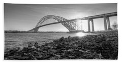 Bayonne Bridge Black And White Beach Sheet