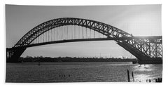 Bayonne Bridge Panorama Bw Beach Sheet