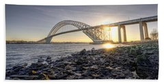 Bayonne Bridge Sunset Beach Towel