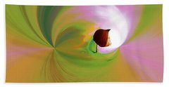 Be Happy, Green-pink With Physalis Beach Towel