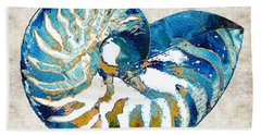 Beach Art - Nautilus Shell Bleu - Sharon Cummings Beach Towel