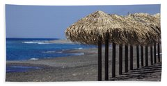Beach Towel featuring the photograph Beach At Perivolos by Jeremy Hayden
