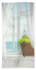 Beach Basket In Window Beach Towel