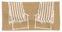 Beach Chairs On Burlap- Art By Linda Woods Beach Towel