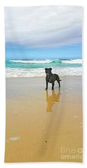 Beach Towel featuring the photograph Beach Dog And Reflection By Kaye Menner by Kaye Menner