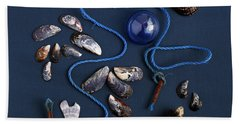 Beach Sheet featuring the photograph Beach Finds In Blue by Art Block Collections