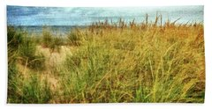 Beach Sheet featuring the digital art Beach Grass Path - Painterly by Michelle Calkins