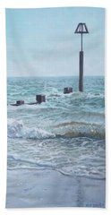 Beach Towel featuring the painting Beach Groin With Autumn Waves by Martin Davey