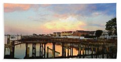 Beach Homes At Sunset Beach Towel by Suzanne Handel