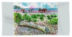 Beach Horseback Riding Beach Towel