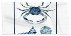Beach House Sea Life Crab Turban Shell N Scallop Beach Towel